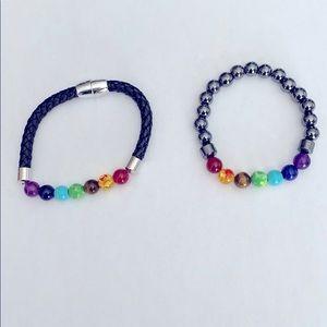 Two bracelets in rainbow colours